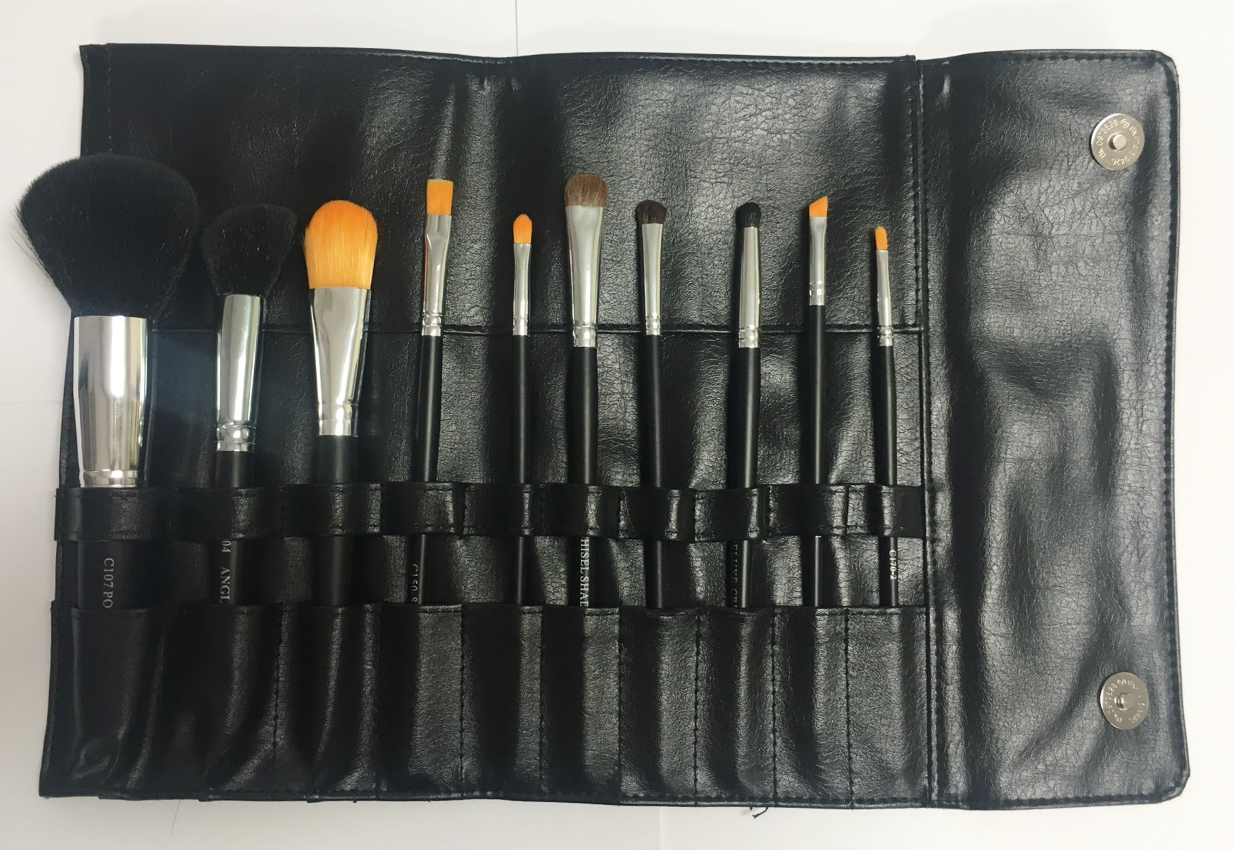 Cosmetco   10pc Brush Set With Leather Rollup